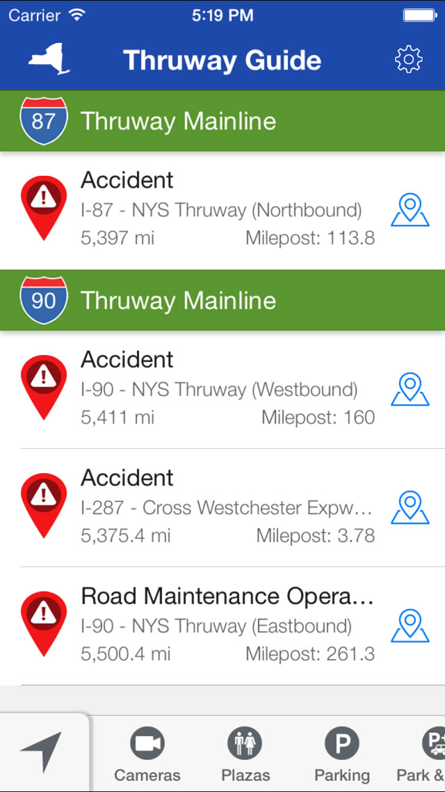 NY Thruway Guide - The iPhone app